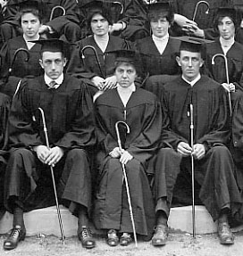 students with class canes