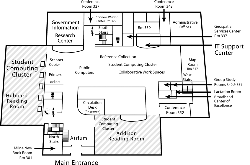 Dimond Library Level 3 map