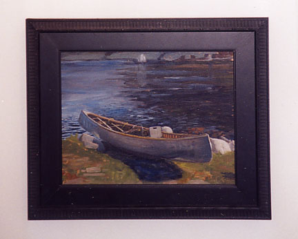 Painting of a canoe at the water's edge