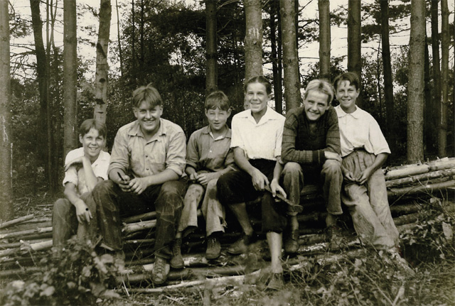old photo of boys in woods