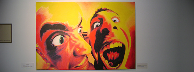 Painting of extreme closeup of two grinning faces
