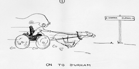 Drawing of Dean Charles Pettee driving a horse drawn coach away from Dartmouth, towards Durham