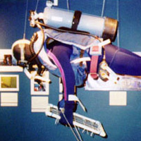 A mannequin diver hangs from the ceiling