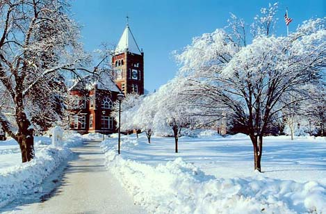 Snowy landscape of campus with Thompsons Hall
