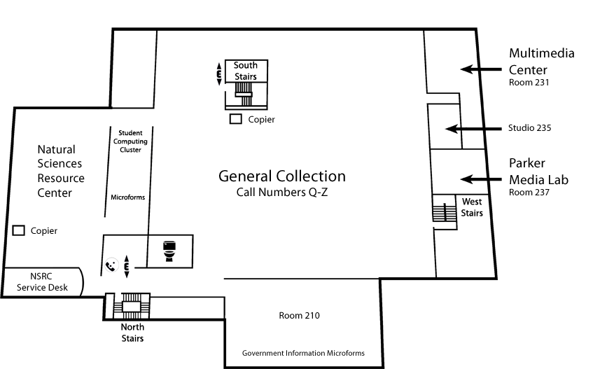 Map of Level 2 Dimond Library