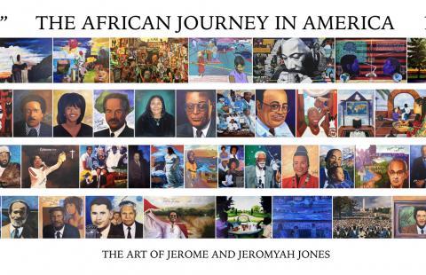 Banner collection of portraits of influential African Americans painted by Jerome and Jeromyah Jones