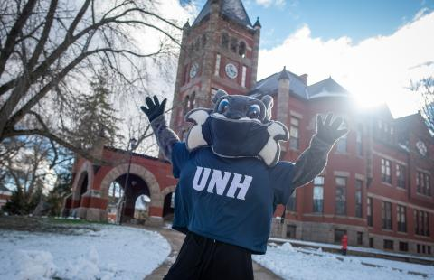 Wild E. Cat wearing a mask in front of T-Hall during winter