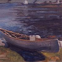 painting of a canoe