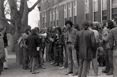 Students on campus in 1970