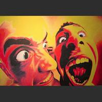 large colorful artwork of facial expressions