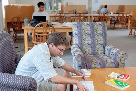 Graduate Student studying in Dimond Library