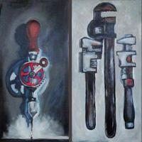 painting of hand tools