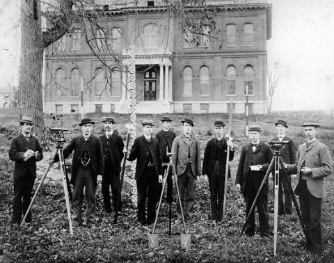 Class of 1884 in front of Culver Hall, 1881