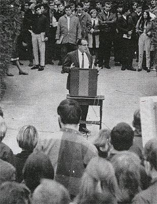 University President McConnell at Convocation for Students' Rights in front of T-Hall, 1968