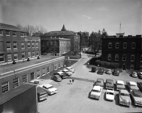 Cars parked on campus 1960s