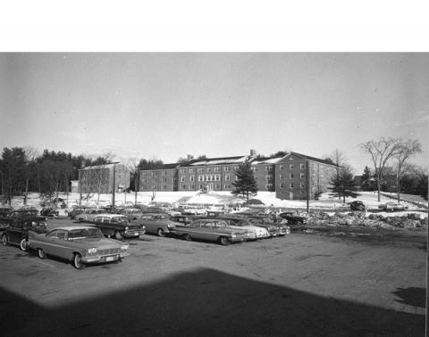 cars in campus parking lot 1960