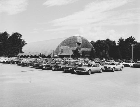 cars in campus parking lot 1986