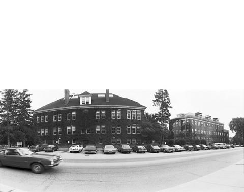 cars parked on campus 1978