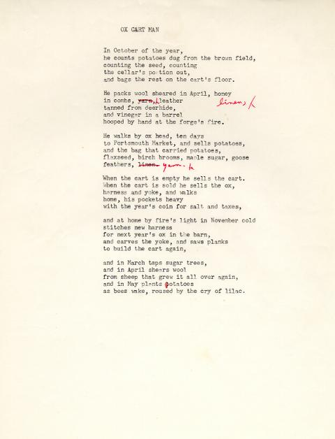 Ox Cart Man, draft 13, typewritten and red ink used for corrections