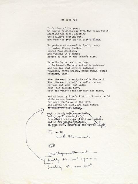 Ox Cart Man, draft 17, typewritten, one note for correction left at the bottom in black ink
