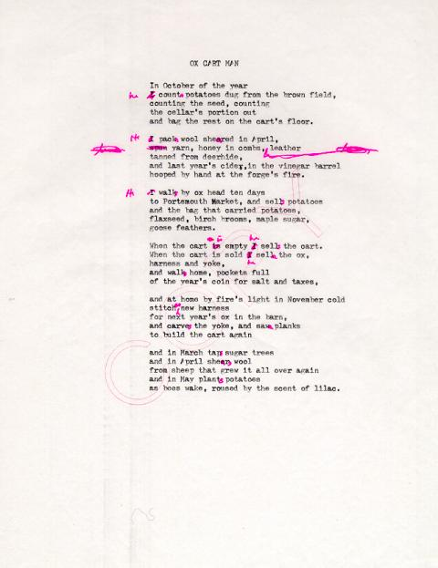Ox Cart Man, draft 10, typewritten on white paper with pink ink used for corrections