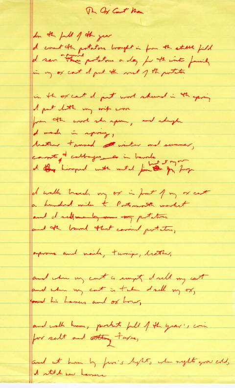 The Ox Cart Man, draft 2, written in red ink on yellow legal pad paper, corrections and cross outs done in red ink