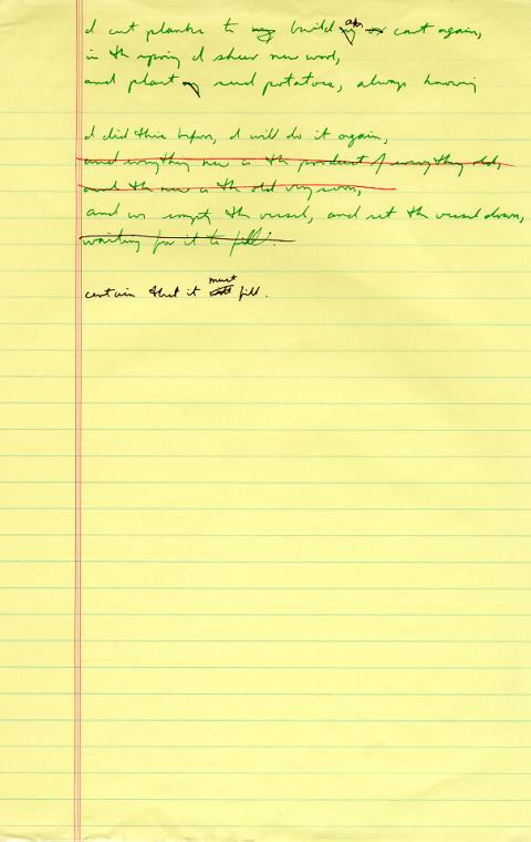 Ox Cart Man, draft 3, page 2, written in green ink with red and black ink used for corrections, title of poem changed
