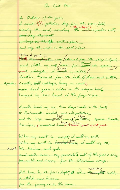 Ox Cart Man, draft 3, written in green ink with red and black ink used for corrections, title of poem changed