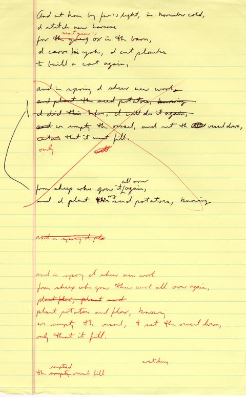 Ox Cart Man, draft 4, page 2, written in black ink, red ink used for corrections, many corrections in this draft