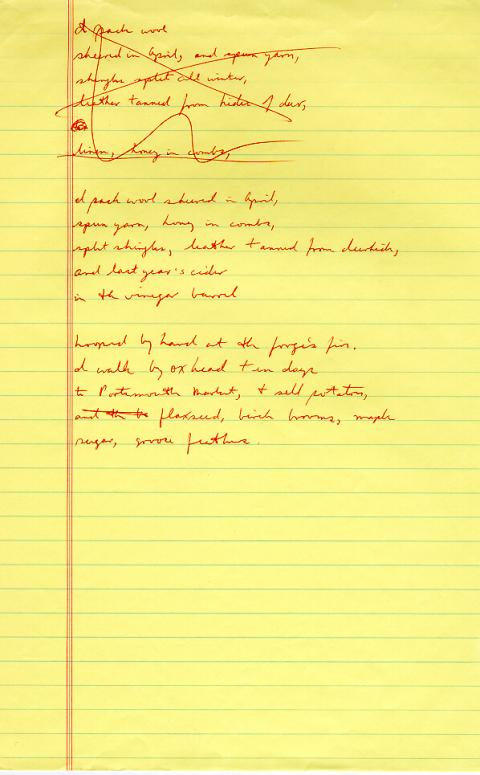Ox Cart Man, draft 5, page 2, written in red ink, very few corrections