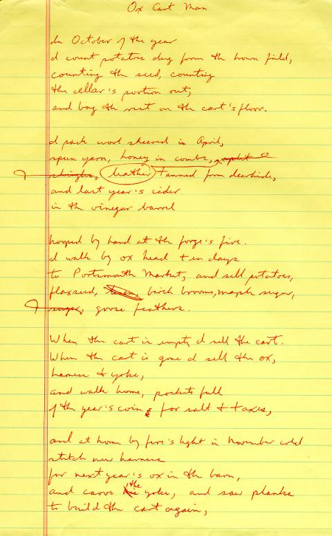 Ox Cart Man, draft 5, written in red ink, very few corrections