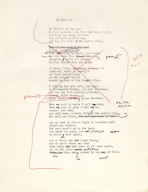 Ox Cart Man, draft 7, written using typewriter, many corrections made in black and red ink