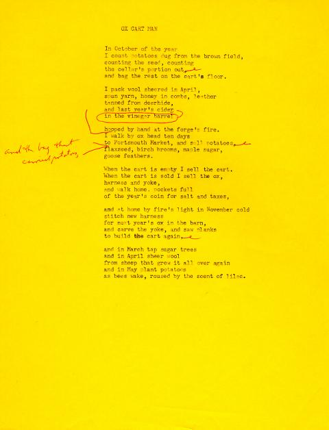 Ox Cart Man, draft 8, typewritten on bright yellow paper, red ink used for corrections