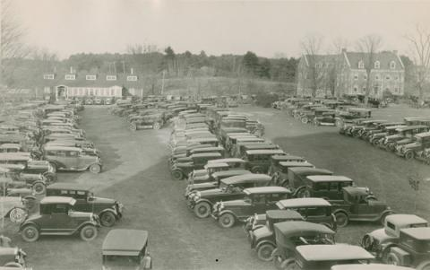 Parked Cars in front of DeMeritt Hall 1927