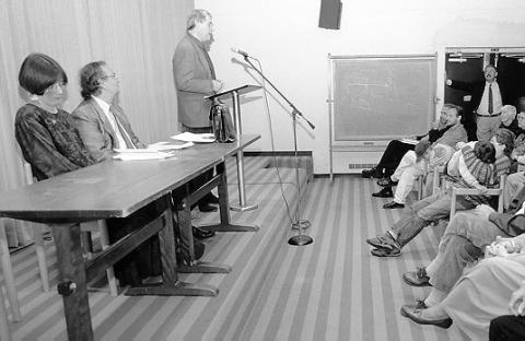 Charles Simic (reading) with Mekeel McBride and Donald Hall